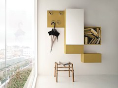 - Sectional lacquered wall-mounted hallway unit CINQUANTA   Sectional hallway unit - Birex