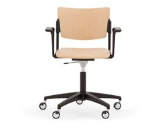 - Beech chair with 5-spoke base with casters LAMIA WOOD | Chair with 5-spoke base - Diemmebi