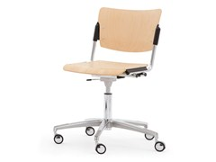- Beech chair with 5-spoke base with casters LAMIA WOOD | Chair with casters - Diemmebi