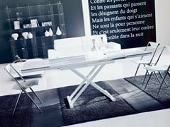 - Height-adjustable folding table UGO | Crystal and steel table - Bontempi Casa