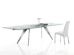 - Rectangular crystal and stainless steel table RAMOS | Extending table - Bontempi Casa