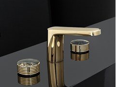 - 3 hole gold colour washbasin tap with polished finishing TEXTURE | Gold colour washbasin mixer - FIMA Carlo Frattini