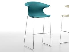 - Upholstered sled base stool with armrests LOOP   Upholstered stool - Infiniti