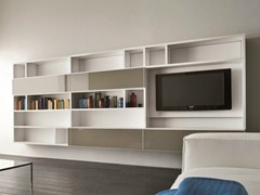 - Wall-mounted lacquered TV wall system SPEED M - Dall'Agnese