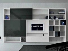 - Lacquered TV wall system SPEED D - Dall'Agnese