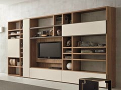- Walnut TV wall system SPEED H - Dall'Agnese