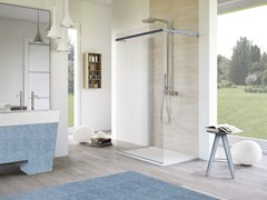 - Rectangular glass shower cabin with tray MATERIA JEANS - MEGIUS