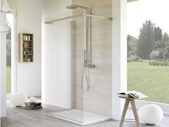 - Rectangular glass shower cabin with tray MATERIA PELLE - MEGIUS