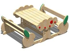 - Wooden picnic table with integrated benches MELA   Picnic table with integrated benches - Legnolandia