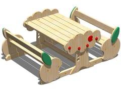 Tavolo da picnic in legno con panchine integrateMELA | Tavolo da picnic con panchine integrate - LEGNOLANDIA
