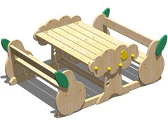 - Wooden picnic table with integrated benches PERA   Picnic table with integrated benches - Legnolandia