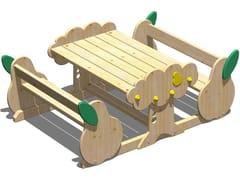 Tavolo da picnic in legno con panchine integratePERA | Tavolo da picnic con panchine integrate - LEGNOLANDIA