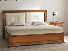 - Cherry wood storage bed with upholstered headboard BOHEMIA | Bed with upholstered headboard - Dall'Agnese