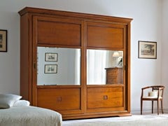 - Mirrored cherry wood wardrobe with sliding doors BOHEMIA | Mirrored wardrobe - Dall'Agnese