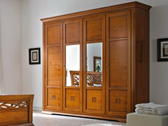 - Mirrored cherry wood wardrobe BOHEMIA | Mirrored wardrobe - Dall'Agnese