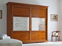 - Mirrored cherry wood wardrobe with sliding doors BOHEMIA | Decorated glass wardrobe - Dall'Agnese