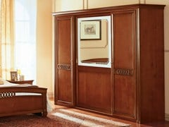 - Mirrored cherry wood wardrobe with sliding doors VENEZIA | Wardrobe with sliding doors - Dall'Agnese