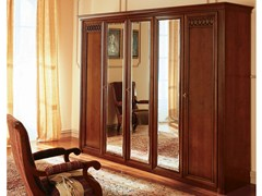 - Mirrored cherry wood wardrobe VENEZIA | Mirrored wardrobe - Dall'Agnese