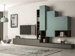 - Sectional lacquered TV wall system SLIM 87 - Dall'Agnese