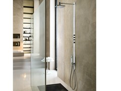 - Thermostatic shower panel with hand shower with overhead shower LOOP | Shower panel with overhead shower - Carlo Nobili Rubinetterie