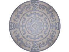 - Handmade round rug POMPADOUR BLUE CIRCLE - EDITION BOUGAINVILLE