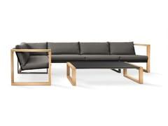 - Sled base sectional Batyline® sofa MODULAR LOUNGE TEAK - FueraDentro