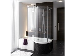 - Enamelled steel bathtub with shower BETTECORA RONDA - Bette