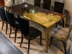 Tavolo da pranzo rettangolare con intarsio in foglia oroSECRET ROSE - BIZZOTTO
