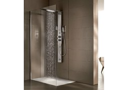 Multifunction crystal and steel shower cabin bristol box 1 for Porta doccia a libro leroy merlin