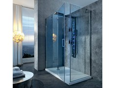- Corner multifunction Hydromassage crystal and steel shower cabin BRISTOL BOX 5 - GRUPPO GEROMIN