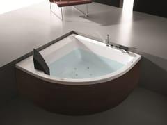 - Corner whirlpool wooden bathtub ERA PLUS 140X140 - GRUPPO GEROMIN