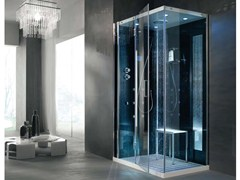 - Multifunction crystal steam shower cabin TEMPO AD ANGOLO - HAFRO