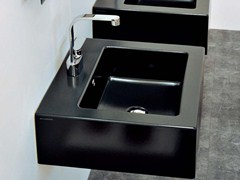 - Countertop wall-mounted ceramic washbasin with overflow ACQUAGRANDE 60 | Square washbasin - CERAMICA FLAMINIA