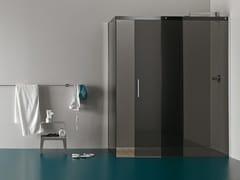 - Corner tempered glass shower cabin with tray RASO-FILODOCCIA SLIDING CORNER - MEGIUS