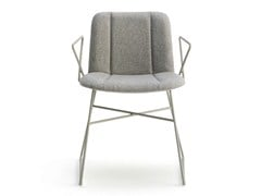 - Sled base fabric chair with armrests HIPPY | Sled base chair - BILLIANI