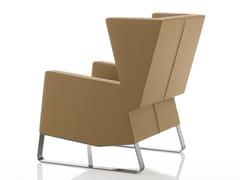 - Sled base upholstered leather armchair INKA STEEL S 200 ST - BILLIANI