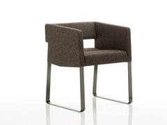 - Sled base upholstered fabric easy chair with armrests INKA STEEL C 200 ST - BILLIANI