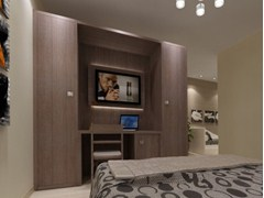 - Melamine-faced chipboard wardrobe with built-in TV for hotel rooms ZEUS | Wardrobe with built-in TV - Mobilspazio