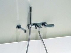 - Wall-mounted bathtub mixer with hand shower ONE | Wall-mounted bathtub mixer - CERAMICA FLAMINIA