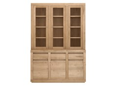 - Solid wood and glass highboard with doors and drawers OAK FLAT | Solid wood highboard - Ethnicraft
