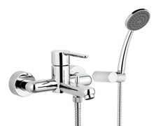 - Wall-mounted single handle bathtub mixer with hand shower NOIR | Bathtub mixer - Rubinetterie Mariani