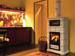 - Wood-burning ceramic stove with Thermal Accumulation with Oven MARLENE | Stove with Oven - Sergio Leoni