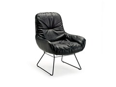 - Sled base leather easy chair LEYA LOUNGE CHAIR | Sled base easy chair - FREIFRAU