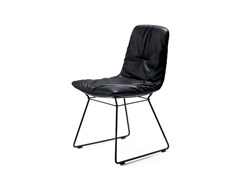 - Sled base upholstered leather chair LEYA | Sled base chair - FREIFRAU