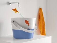 - Ceramic washbasin for children BUCKET | Washbasin for children - Scarabeo Ceramiche