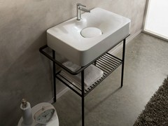 - Countertop ceramic washbasin with towel rail FUJI | Countertop washbasin - Scarabeo Ceramiche