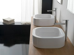- Countertop square ceramic washbasin NEXT 40 - Scarabeo Ceramiche