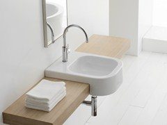- Semi-inset rectangular ceramic washbasin NEXT 40D - Scarabeo Ceramiche