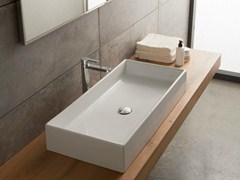 - Countertop rectangular ceramic washbasin TEOREMA 80 - Scarabeo Ceramiche
