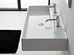 - Double wall-mounted ceramic washbasin TEOREMA 120R B - Scarabeo Ceramiche